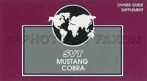1997 Ford Svt Mustang Cobra Owners Manual Supplement
