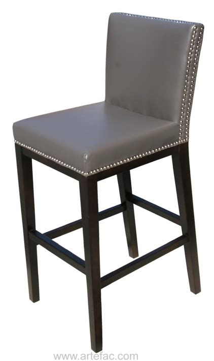 sr 75873 leather bar counter stool with nail grey