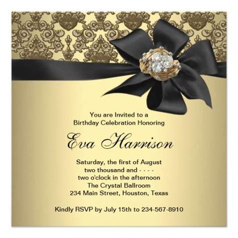 gold black damask  birthday party card birthday