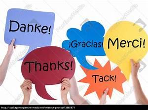 Viele Bunte Sprechblasen Mit Dankeschn Verschiedene
