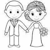 Coloring Groom Bride Card Template Sheets Printable Sketch Activity Couple Reception Busy sketch template
