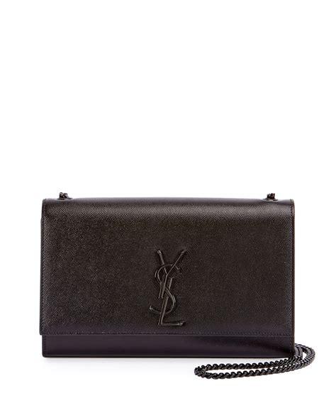 saint laurent monogram ysl kate medium chain bag black