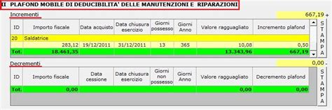 Calcolo Plafond Mobile by 4 3 1 1 Manutenzione E Riparazione Nel Software Integrato