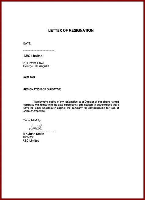 image result  resignation letter word format family