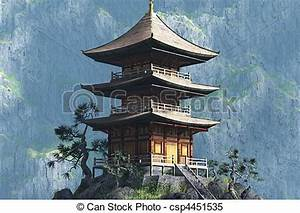 Stock Illustrations of Zen Buddhist temple - entrance ...