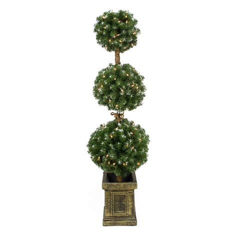 Trees 45' Prelit Potted Triple Ball Artificial Topiary