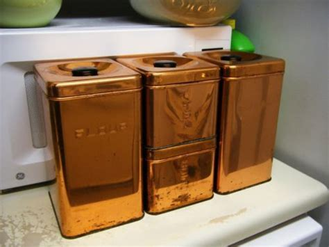 vintage lincoln beautyware beauty ware copper tone metal four 4 canister set ebay my vintage