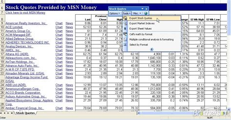 stock quotes  excel stock quotes