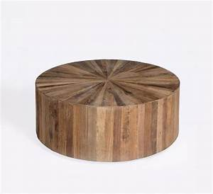 Round wood panel coffee table beach style coffee tables for Rustic beach coffee table