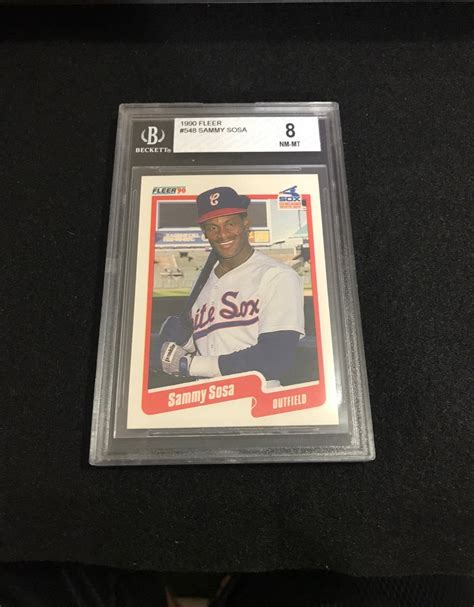 Both cards are some of the most valuable in the hobby, but the 1952 topps version is worth much more since it is. 1990 Fleer Sammy Sosa Beckett Graded Near Mint-Mint 8   Sammy sosa, Sosa, Baseball cards