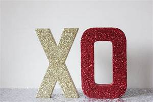 xo glitter gold and red sign letters free standing glittered With love decor letters