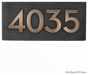 neutraface address plaque 155quot x 7quot in bronze patina With bronze house letters