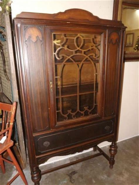 Ebay Antique China Cabinet by Antique Mahogany Art Deco China Cabinet Fret Work One Door