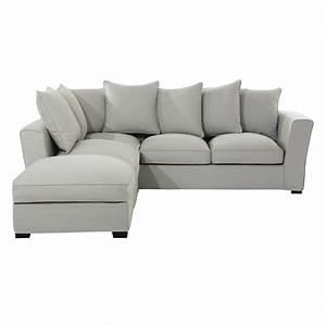 canape d39angle 5 places en coton gris clair balthazar With tapis bébé avec canapé 5 places angle
