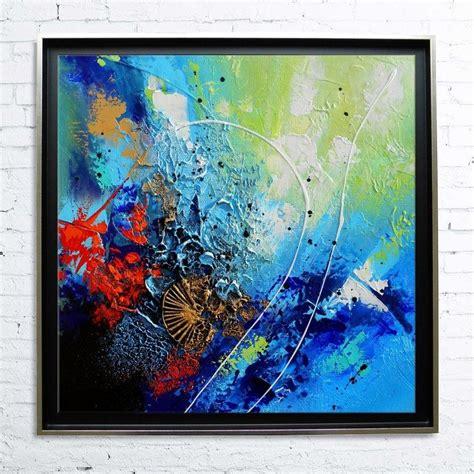 tableau encadr 233 abstrait moderne contemporain peinture acrylique en relief dor 233 noir bleu vert