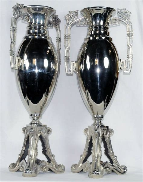 Silver Plated Vase by Pair Of Noveau Wmf Silver Plated Vases 7013 Ebay