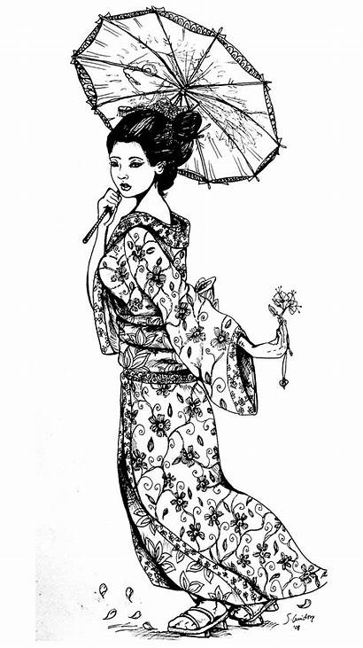 Coloring Geisha Pages Japan Adults Tattoo Japanese