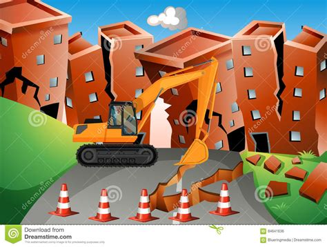 Earthquake Scene With Bulldozer And Buildings Stock