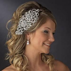 Antique Silver Rhinestone Tiara Comb Elegant Bridal Hair