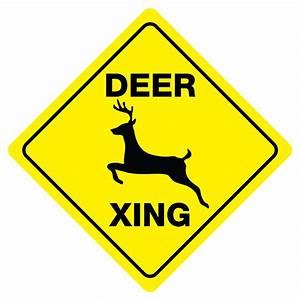 Deer Crossing Sign Xing buck doe hunter funny gag novelty ...