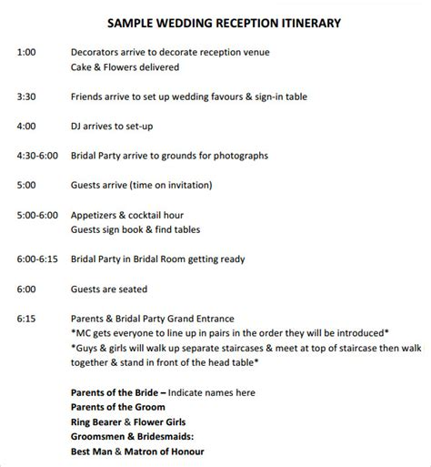 wedding reception timeline template 6 sle wedding timeline templates to for free sle templates