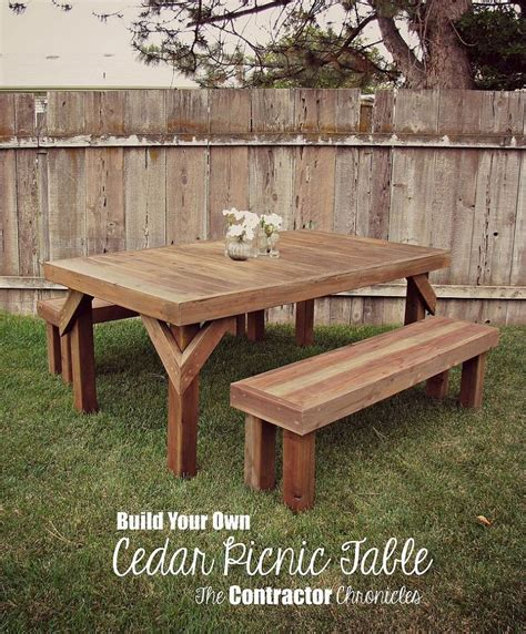 kitchen picnic table plans diy cedar picnic table diy projects to try picnic