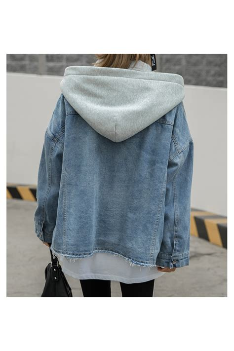 layered hoodie denim jackets womens winter warm hooded