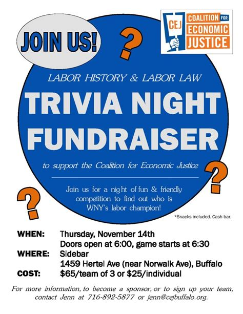trivia night flyer templates trivia night fundraiser to support coalition for economic