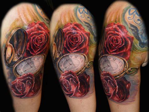 rose  clock tattoo  csaba kolozsvari design  tattoosdesign  tattoos
