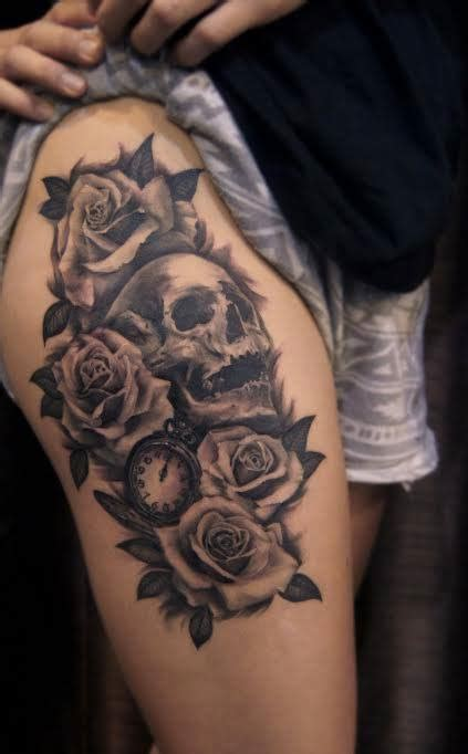 thigh roses skull  pocket  tattoo chronic ink