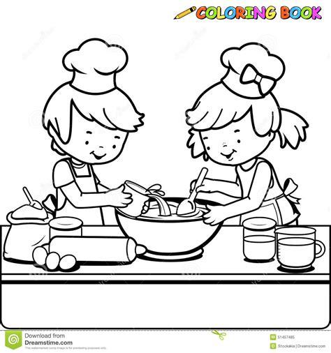 Enfants Faisant Cuire La Page De Livre De Coloriage