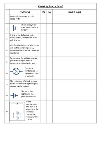 Electricity Worksheet By Bluebell78  Teaching Resources Tes