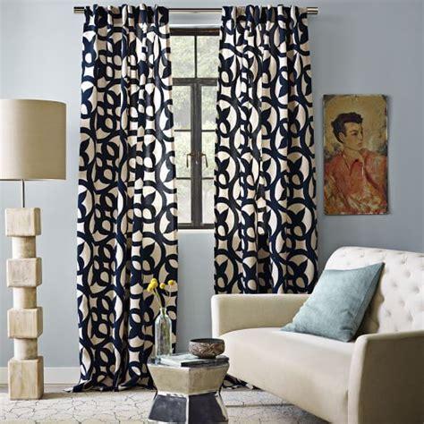 west elm curtains ironwork flocked curtain regal blue west elm