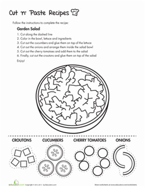 cut and paste recipe worksheet 8 tasty cut and paste recipes education
