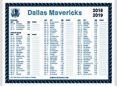 Printable 20182019 Dallas Mavericks Schedule