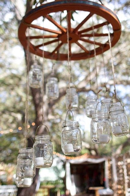 jar wagon wheel chandelier pretty things