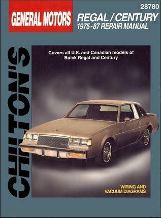 car repair manuals download 1985 buick regal windshield wipe control buick regal century repair manual 1975 1987 chilton 28780