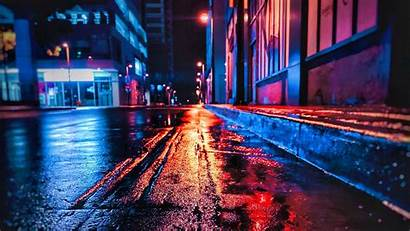 Night Street Wet Neon Background Laptop Tablet