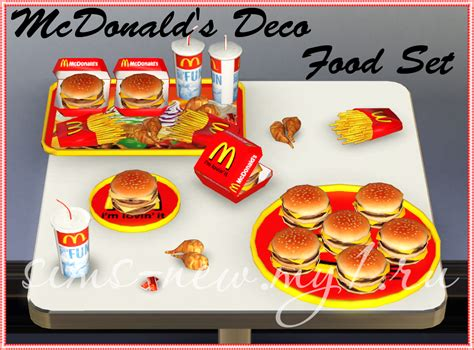 cuisine decorative my sims 3 mcdonald 39 s deco food set by helen