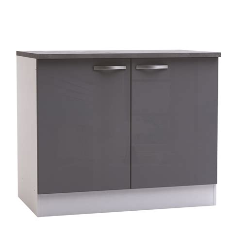 meubles cuisine blanc meuble bas de cuisine contemporain 2 portes blanc mat gris