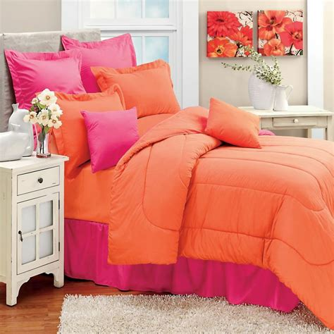 colored comforters coral solid color orange twin single bedding comforter