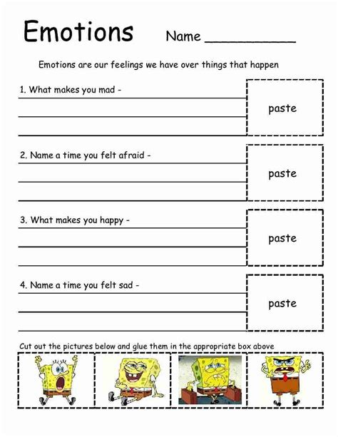 Spongebob Emotions Sheet! This Is Great To Use In Therapy Or At Home With Your Kids To Teach