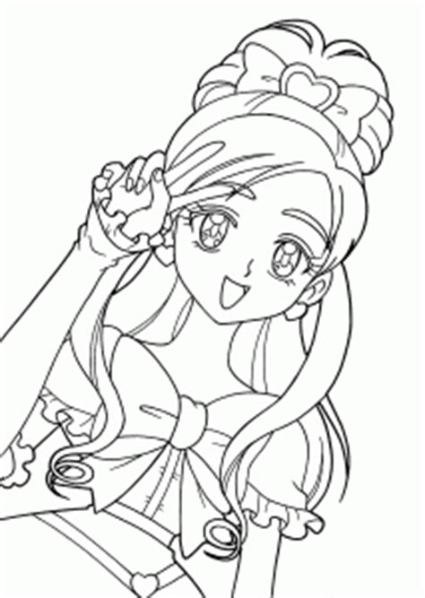 Pretty cure characters anime coloring pages for kids