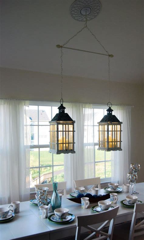 dual dining room lantern chandelier hanging by