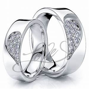 Solid 027 carat 6mm matching heart his and hers diamond for Wedding rings his and hers sets