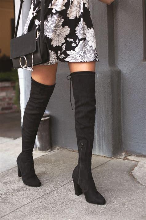 chic black suede boots black   knee boots otk