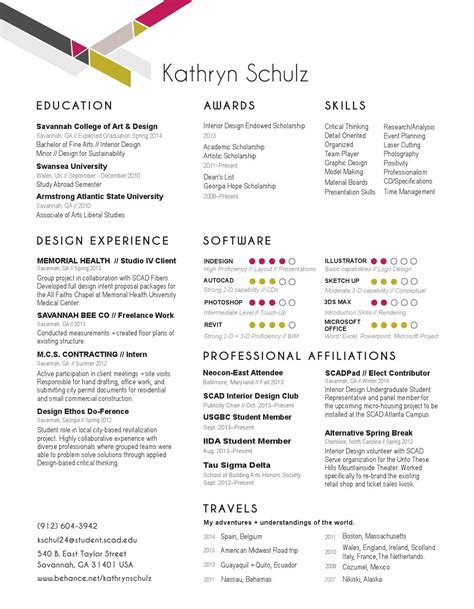 Top Resume Exles 2014 by Kathryn Schulz Interior Design Resume Portfolio 2014