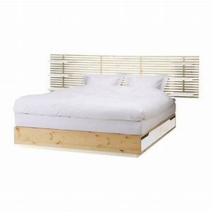 Mandal bed frame with headboard 160x202 cm ikea for Lit double tete de lit