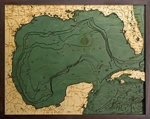 West Grand Traverse Bay Depth Chart Woodchart 3d Gulf Of Mexico Nautical Wood Map Depth Chart