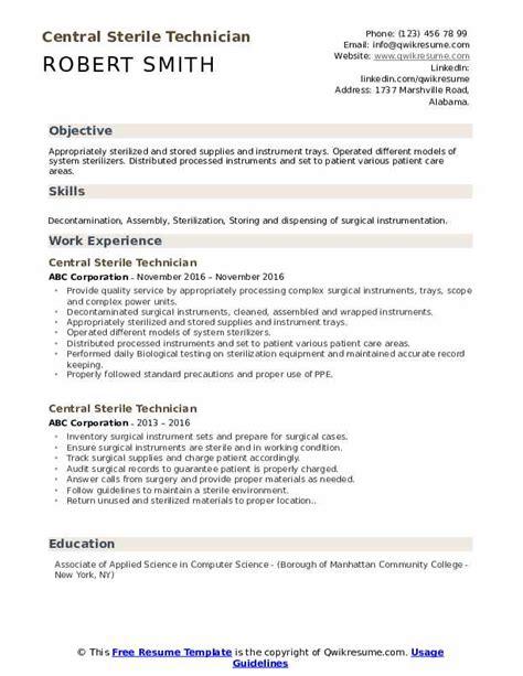 central sterile technician resume samples qwikresume